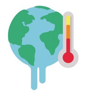 Representación del calentamiento global con el planeta Tierra derritiéndose